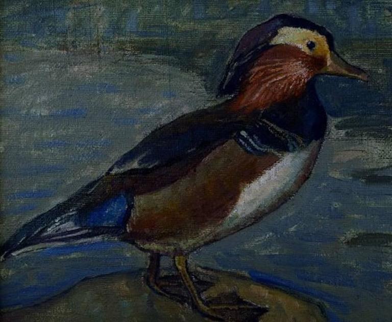Danish Artist, Dated 1918 Mandarin Duck, Oil on Canvas In Excellent Condition For Sale In Copenhagen, Denmark