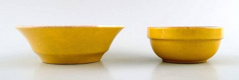 Danish Four Bowls, Susanne Yellow Confetti Royal Copenhagen / Aluminia For Sale