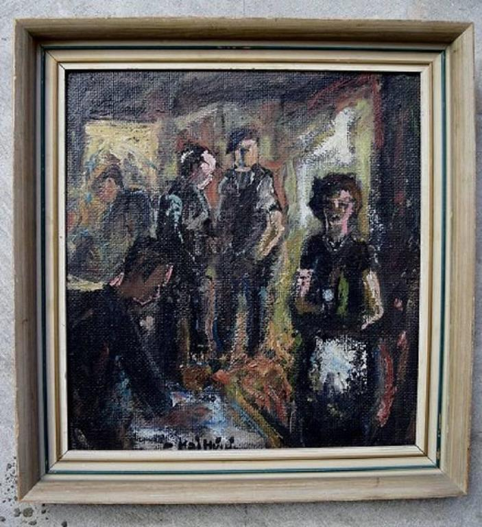 Unknown painter, mid-20th century, interior.  Double Sided  Oil on board.  Signed illegible.  Measures: 31 x 28 cm. The frame measures 3.5 cm.  In perfect condition.