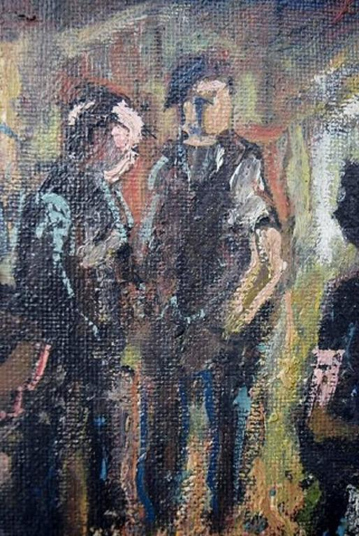 Unknown Painter, Mid-20th Century, Interior, Oil on Board In Excellent Condition For Sale In Copenhagen, Denmark
