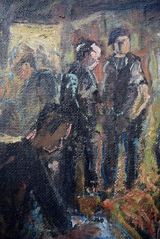 Unknown Painter, Mid-20th Century, Interior, Oil on Board For Sale 2