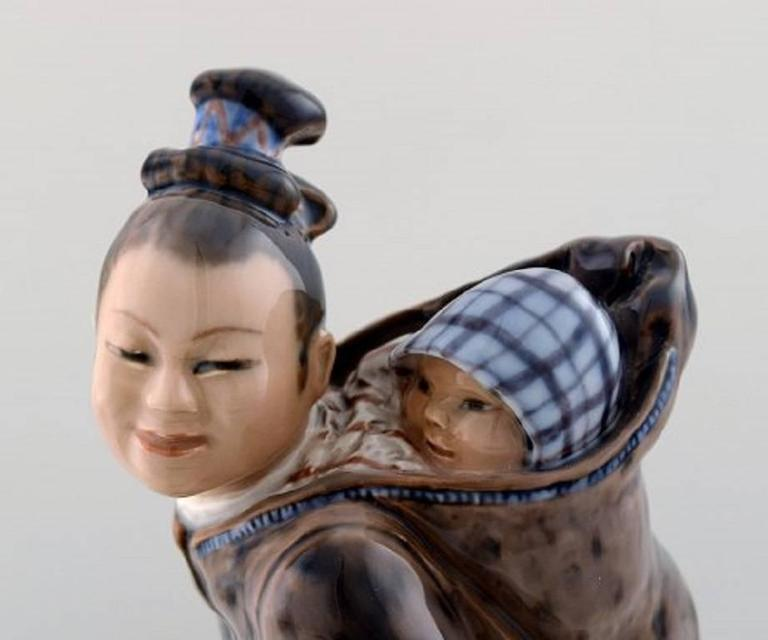 Jan Hagara Figurines For Sale: Dahl Jensen, Eskimo Woman With Child, Porcelain Figure, No