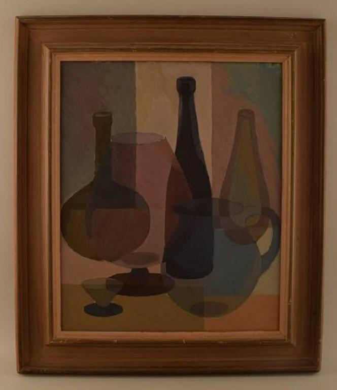 S. Lundgreen, Swedish painter, mid-20th century.  Oil on board. Still life with bottles, glasses and pitchers.  Signed. Dated 48.  Measures: 46 x 38 cm. The frame measures 8 cm.  In perfect condition.