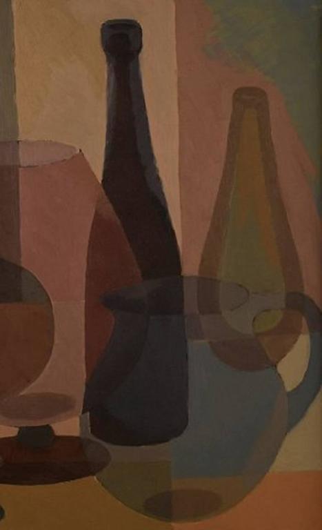 Scandinavian Modern S. Lundgreen, Swedish Painter, Mid-20th Century, Oil on Board For Sale