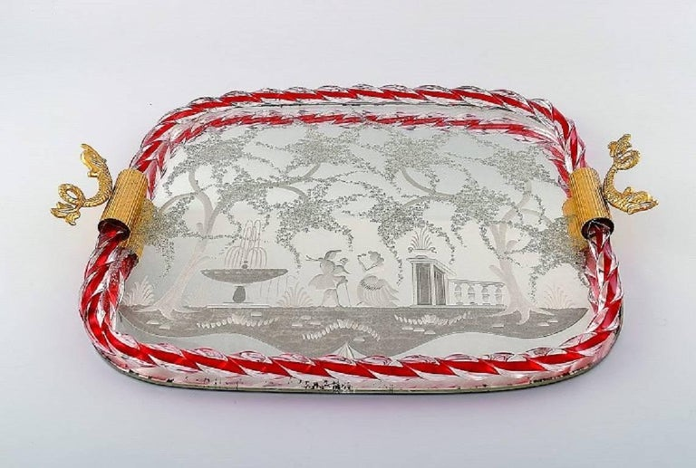 Murano, Italy, art glass rectangular tray with mirror coating, floral pattern with galant scene, two gold-colored metal grips on the side formed as fish.