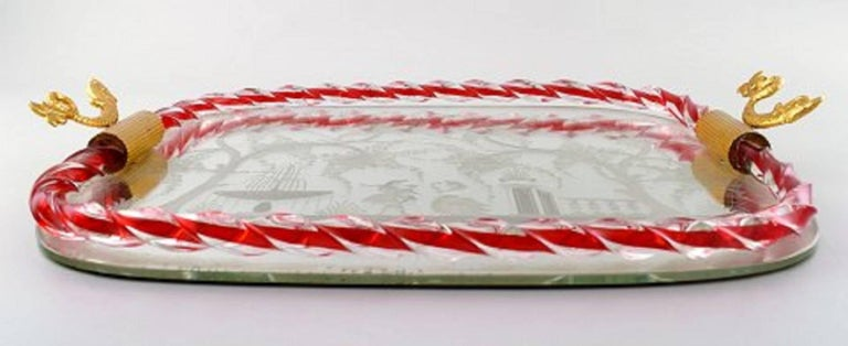 Murano, Italy, Art Glass Rectangular Tray with Mirror Coating For Sale 1