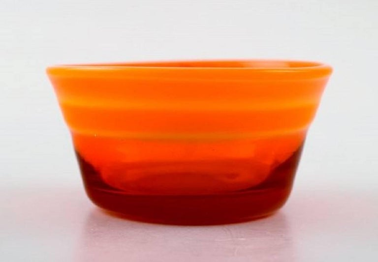 Collection Of Scandinavian Orange Art Glass Vases And Bowls