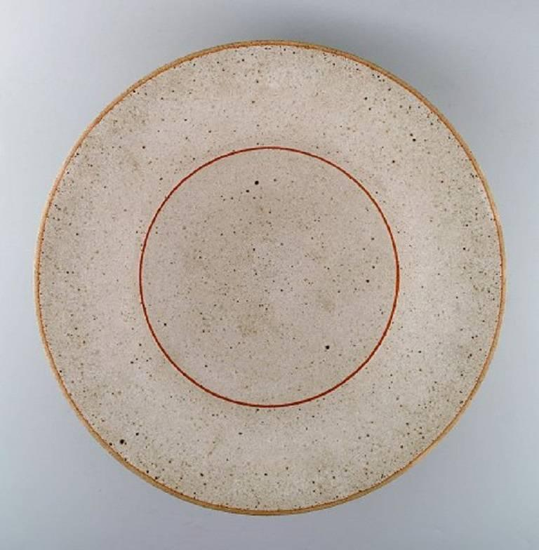 Scandinavian Modern Alev Ebüzziya Siesbye Very Large Unique Bowl of Stoneware For Sale