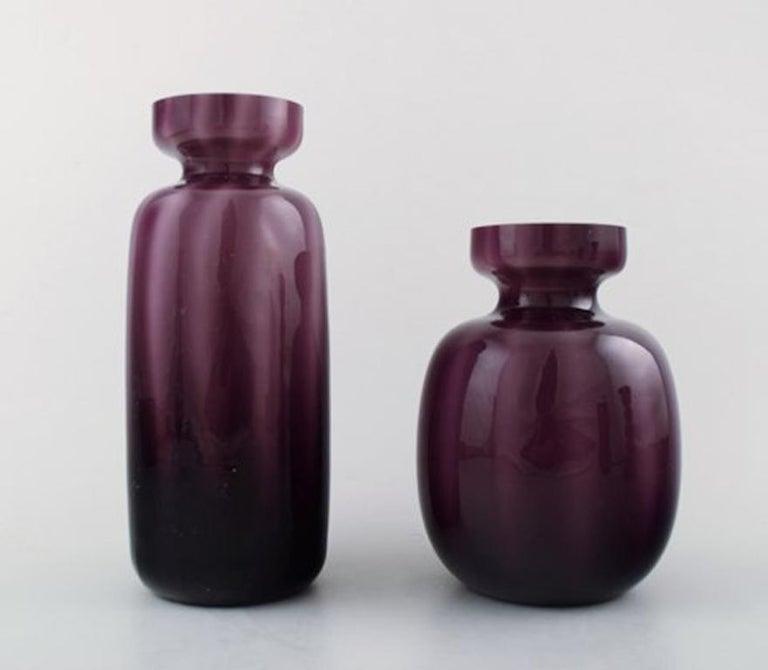 Collection Of Swedish Art Glass Seven Purple Vases In Modern Design