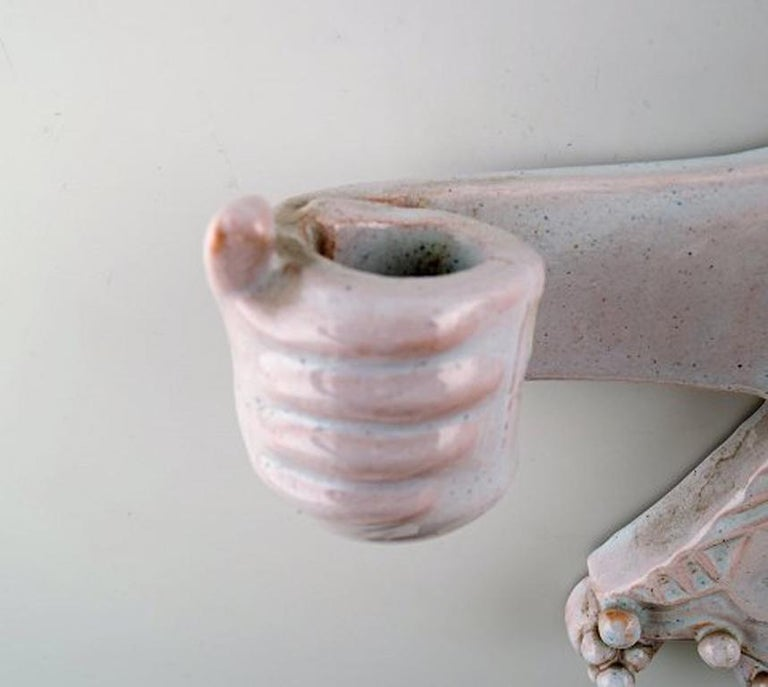 Early, Rare Bjørn Wiinblad, Unique Wall Candlestick in the Form of a Woman In Excellent Condition For Sale In Copenhagen, Denmark