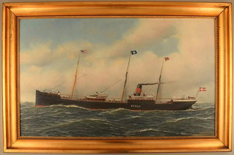 Antonio Jacobsen, the steamer Hekla from Scandinavian American Line.  Oil on canvas.  Signed and dated: A. Jacobsen 1899, 31 Palisade Av. West Hoboken N.  The canvas measures: 56 cm × 91.5 cm.  The frame measures: 8 cm. Two postcards from a