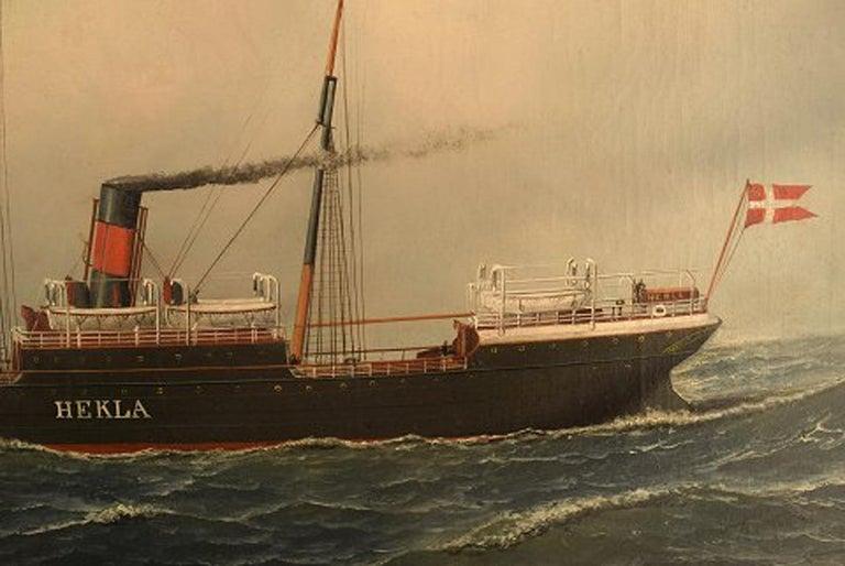 Antonio Jacobsen, The Steamer Hekla from Scandinavian American Line Oil/Canvas In Good Condition For Sale In Copenhagen, Denmark