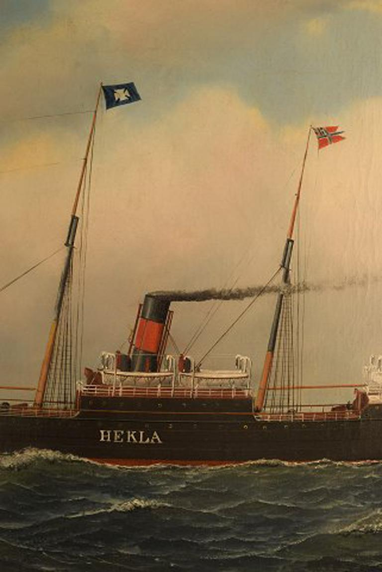 Late 19th Century Antonio Jacobsen, The Steamer Hekla from Scandinavian American Line Oil/Canvas For Sale