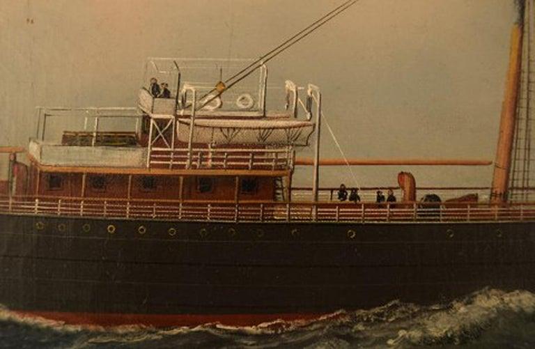 Antonio Jacobsen, The Steamer Hekla from Scandinavian American Line Oil/Canvas For Sale 1