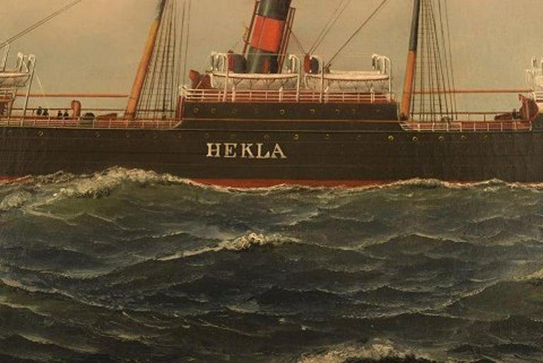 Antonio Jacobsen, The Steamer Hekla from Scandinavian American Line Oil/Canvas For Sale 2