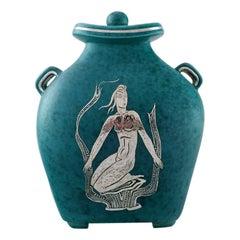 Wilhelm Kåge, Gustavsberg, Argenta Art Deco Vase with Lid