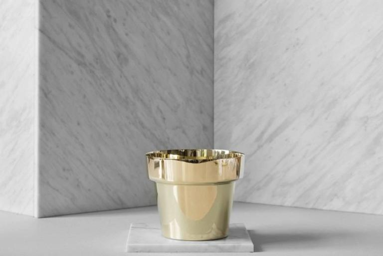 THREE HERB POTS, DESIGN MONICA FÖRSTER  POLISHED BRASS  HEIGHT 10CM. Diameter 12,5 CM.  PERFECT CONDITION  Staying true to the historic production methods of Skultuna, Monica Förster and her design studio came up with a series of Flower
