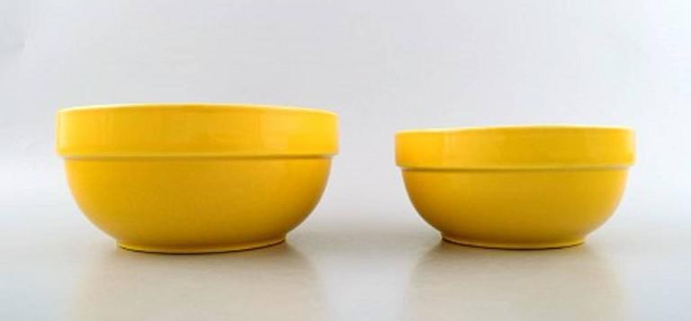 Scandinavian Modern Four Bowls, Susanne Yellow Confetti Royal Copenhagen / Aluminia For Sale
