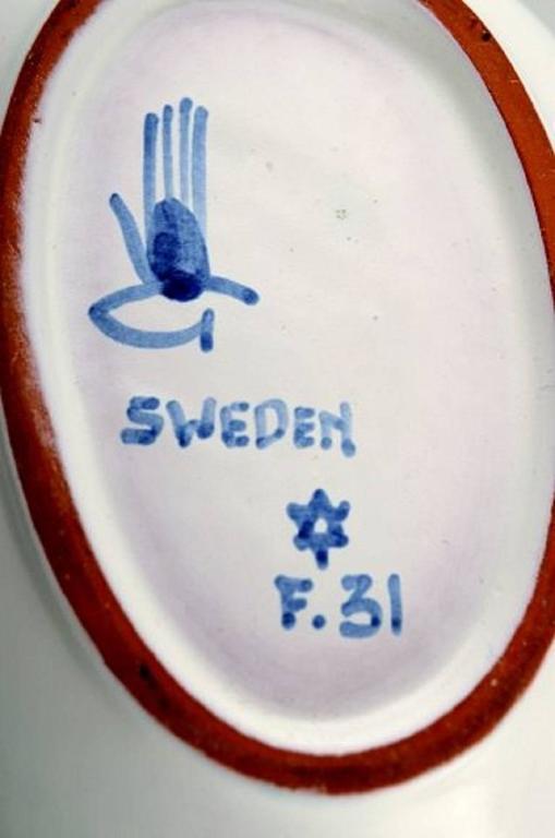Swedish Stig Lindberg Bowl, Gustavsberg Studio, Fajance, 1940s For Sale