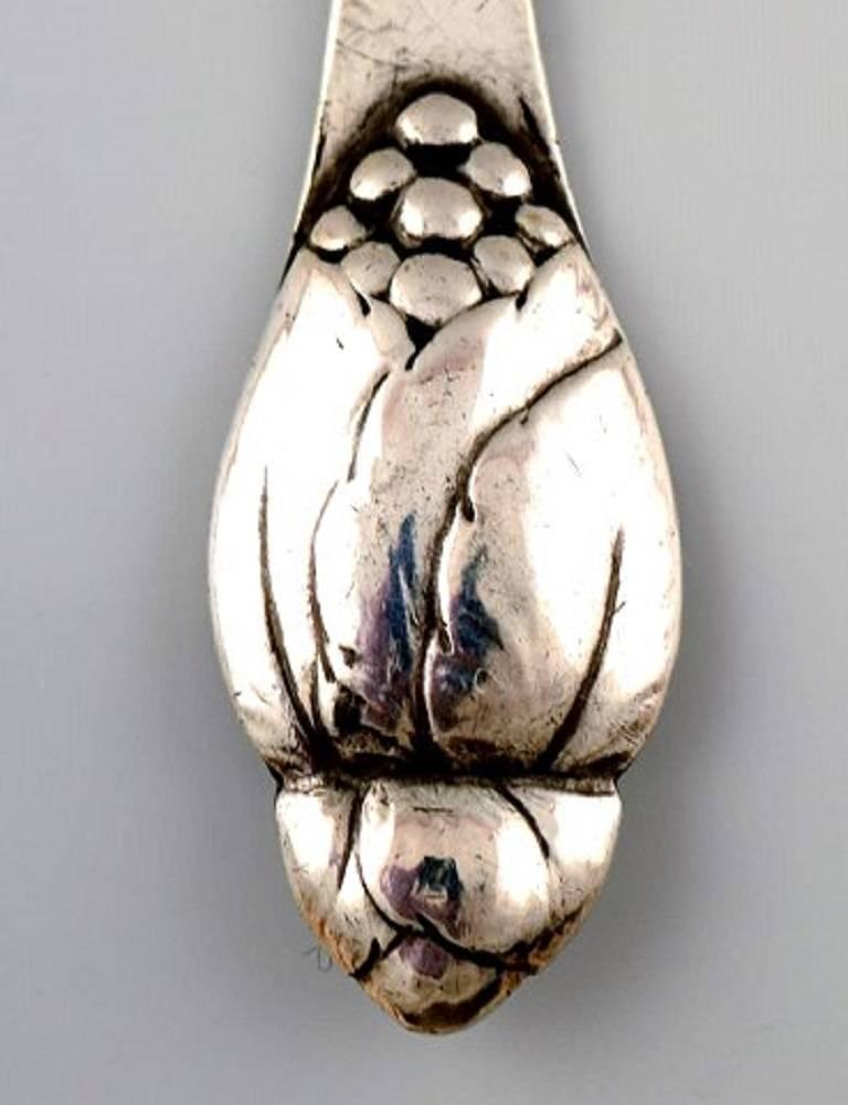 Danish Evald Nielsen Number 6, Seven Teaspoon in Silver, Denmark, 1920s-1930s For Sale