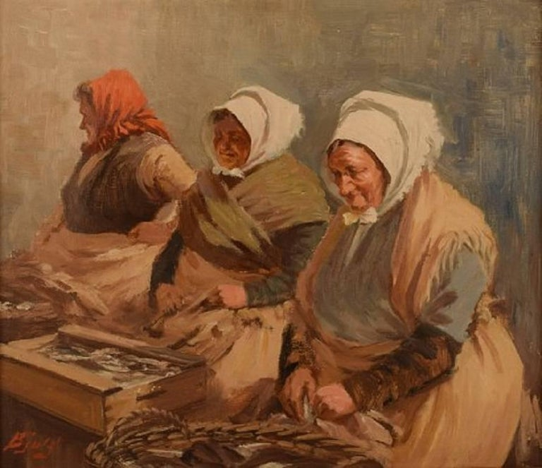 S. C. Bjulf: Fishermen's wives, The old dock, Copenhagen.  Well listed Danish artist. Signed Bjulf, 1930s. Oil on canvas.  Measures: 40 cm. x 46 cm.