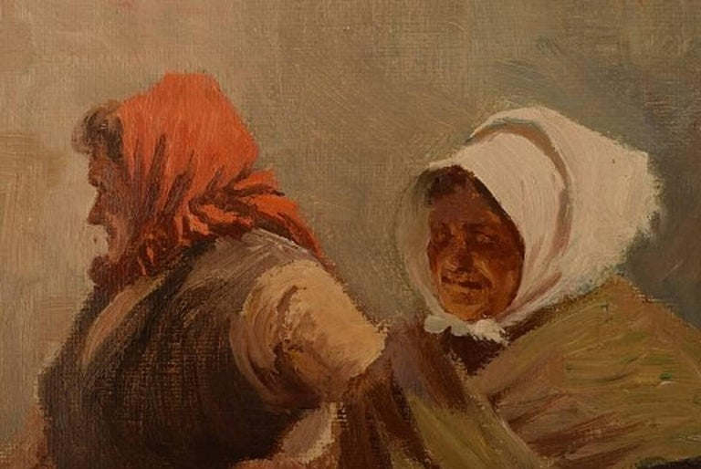 S. C. Bjulf 'Fishermen's Wives,' Well Listed Danish Artist, Oil on Canvas In Excellent Condition For Sale In Copenhagen, Denmark