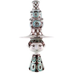 Bjørn Wiinblad Three-Piece Ceramic Vase Hand-Painted in Green and Brown, Woman