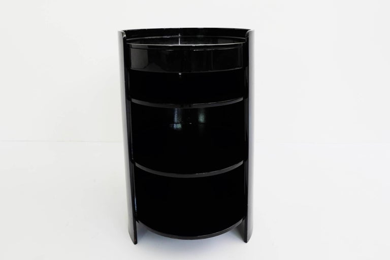 Azucena, Caccia Dominioni, Black Lacquered Pair of Bed Side Tables Mod. Casaccia In Excellent Condition For Sale In Chiasso, CH
