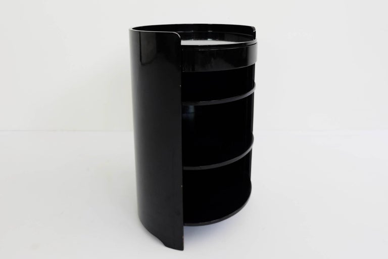 Mid-20th Century Azucena, Caccia Dominioni, Black Lacquered Pair of Bed Side Tables Mod. Casaccia For Sale