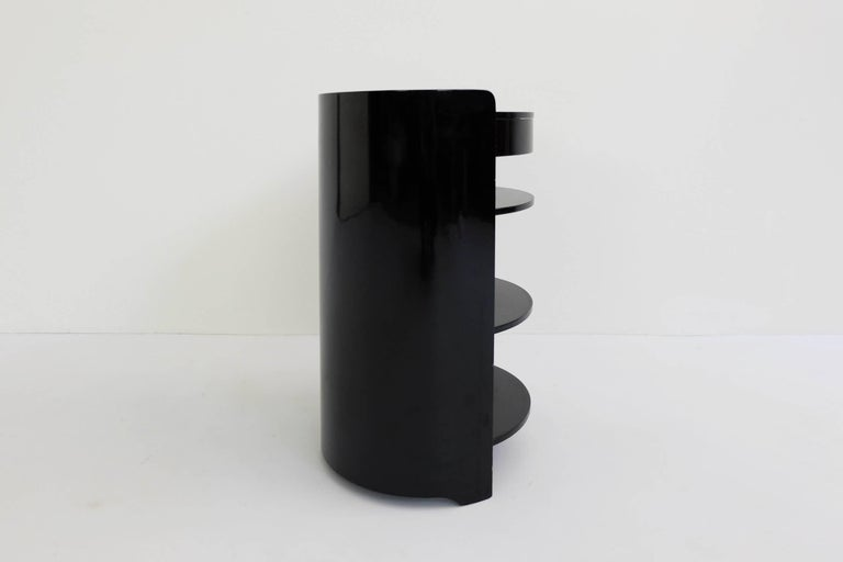 Azucena, Caccia Dominioni, Black Lacquered Pair of Bed Side Tables Mod. Casaccia For Sale 1