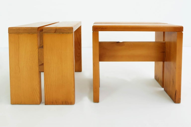 Stool designed by Charlotte Perriand for Les Arcs ski Resort, circa 1960, manufactured in France.