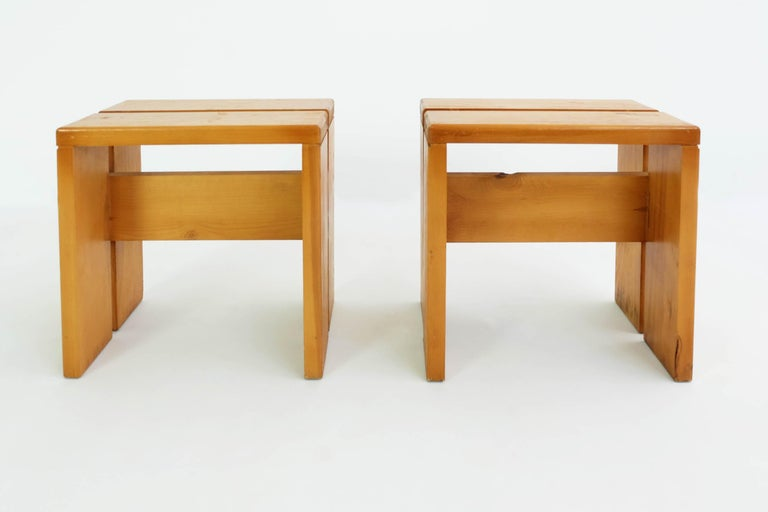 Mid-Century Modern Charlotte Perriand Pair of Les Arcs Stools For Sale