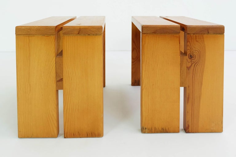 French Charlotte Perriand Pair of Les Arcs Stools For Sale