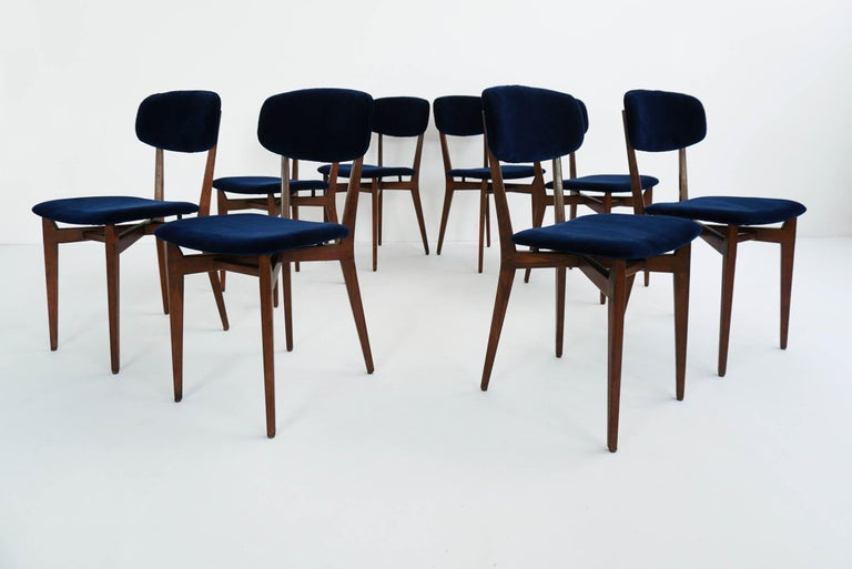 Mid-Century Modern Ico Parisi, Cassina, Italy, 1955 Rare Set of Eight Chairs Mod. 691 For Sale