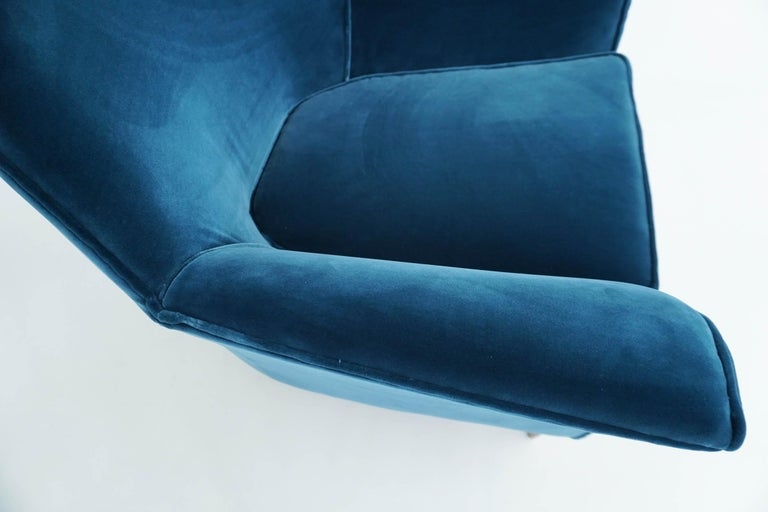 Mid-20th Century Ico Parisi Lounge Chairs in Blue Lagoon Velvet For Sale