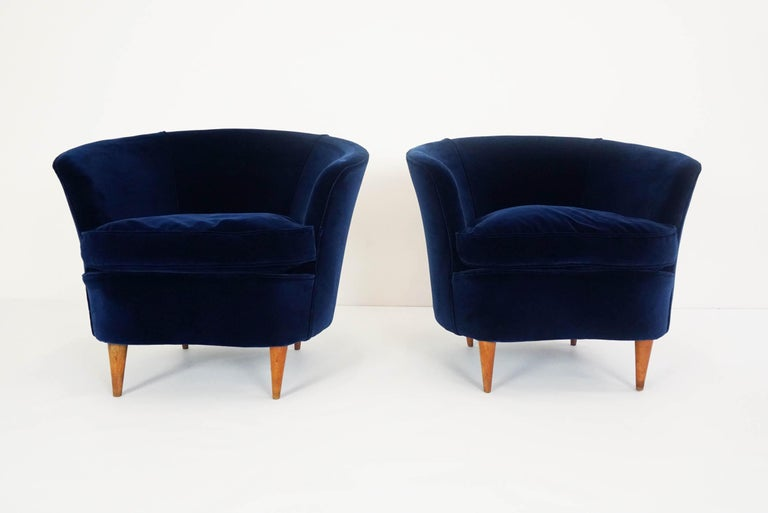 Totally reupholstered in 1st class deep blue velvet