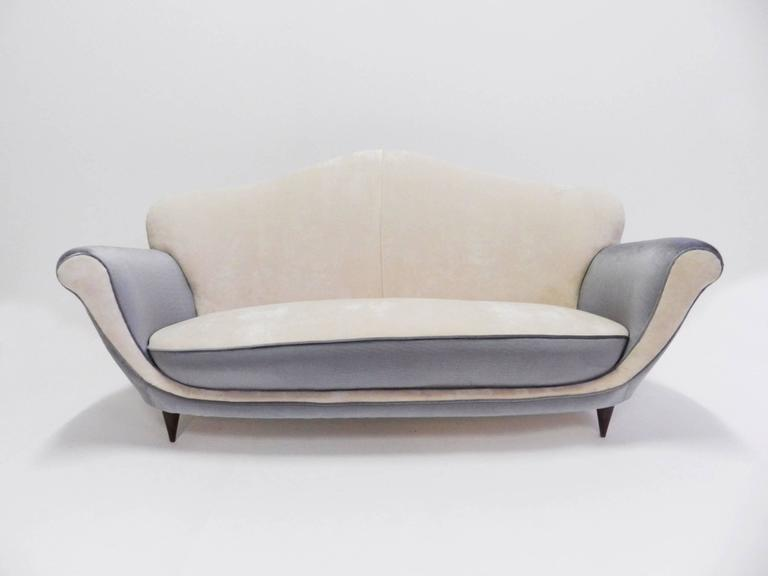 1950 Italian Sofa For Completely Reupholstered And New Cover In Bicolored Luxury Fabric