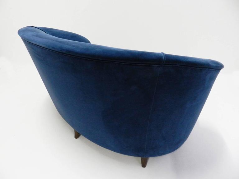 Italian Blue Velvet Lovely Curved Sofa For Sale