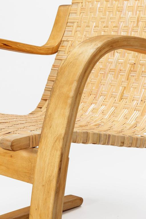 Alvar Aalto Cantilever Chair 406 by Artek in Birch and Cane Webbing For Sale 2