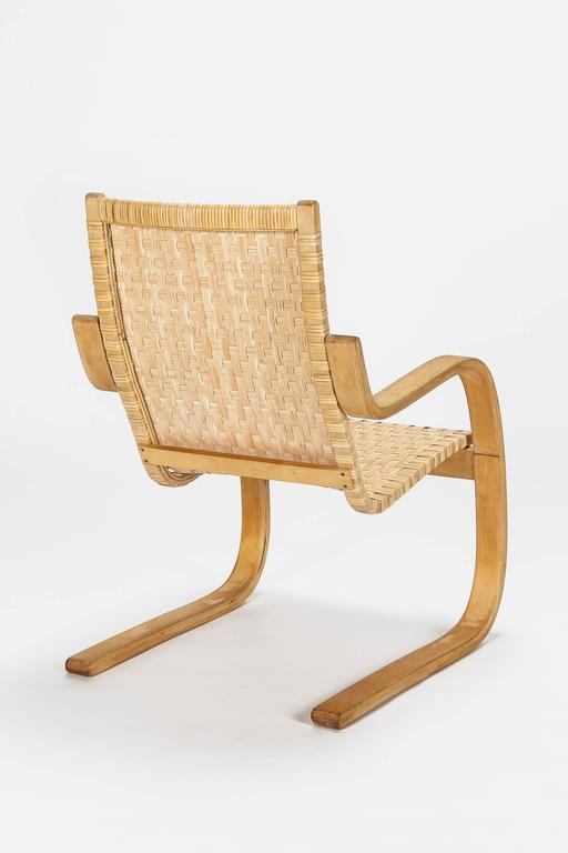 Finnish Alvar Aalto Cantilever Chair 406 by Artek in Birch and Cane Webbing For Sale