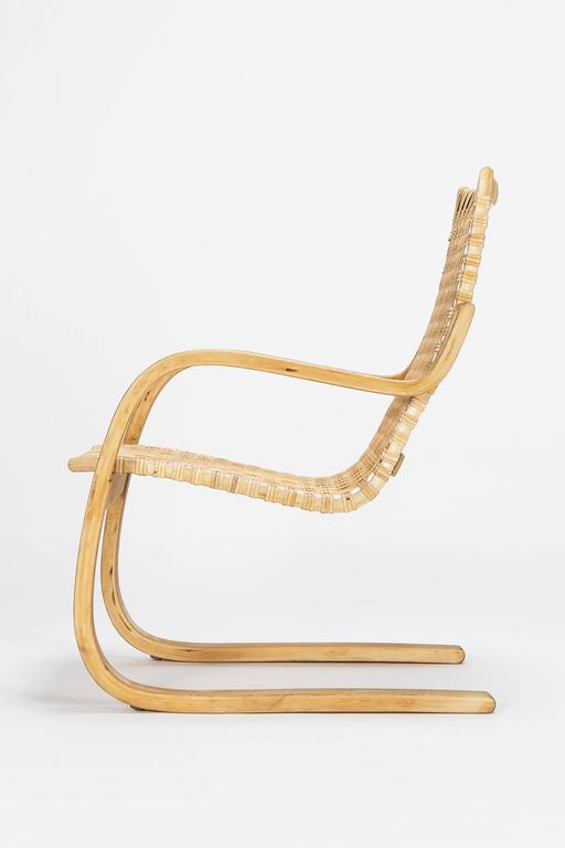 Mid-Century Modern Alvar Aalto Cantilever Chair 406 by Artek in Birch and Cane Webbing For Sale