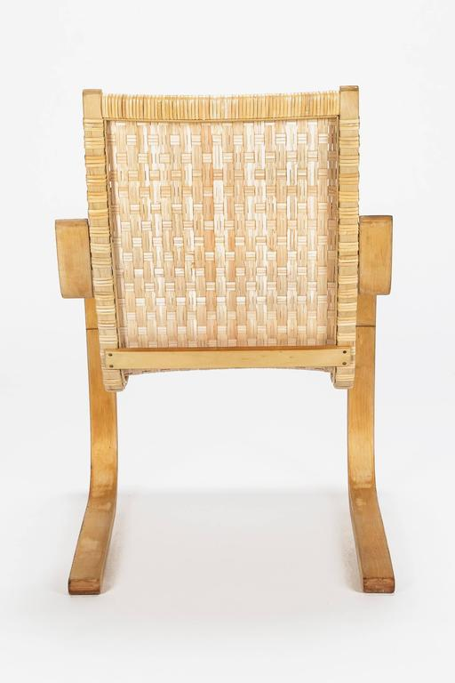 Woven Alvar Aalto Cantilever Chair 406 by Artek in Birch and Cane Webbing For Sale