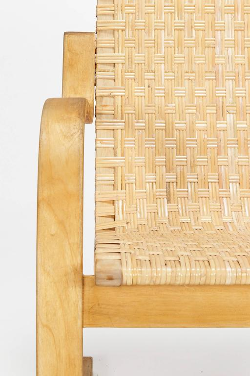Alvar Aalto Cantilever Chair 406 by Artek in Birch and Cane Webbing For Sale 1