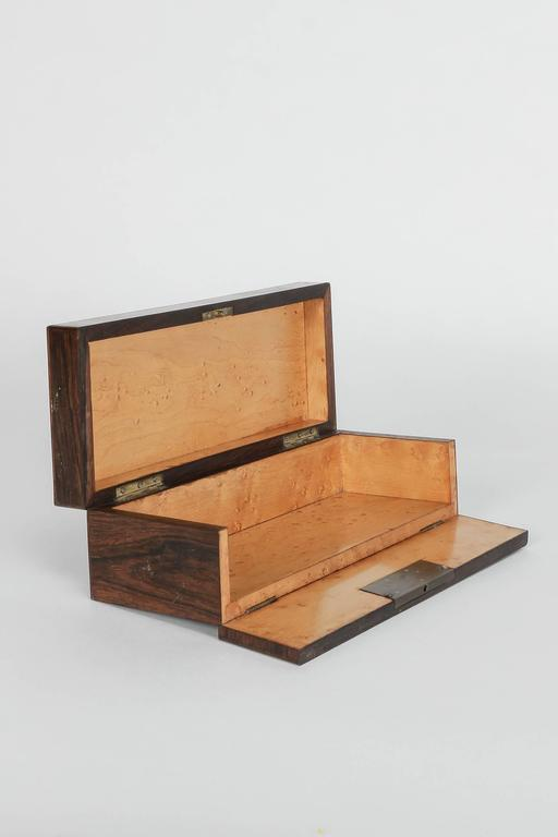 Late 19th Century French Glove Box Rosewood Bird's-Eye Maple Inlays Gants Napoleon III For Sale