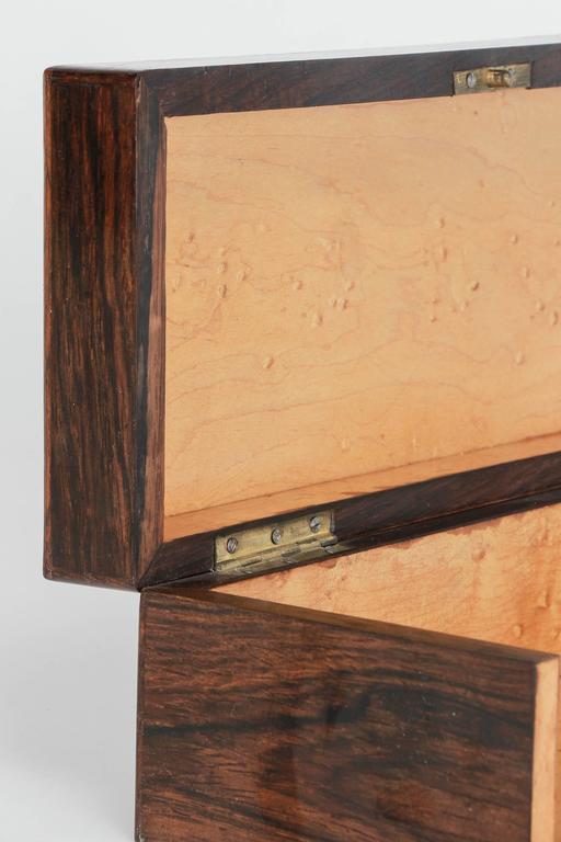 French Glove Box Rosewood Bird's-Eye Maple Inlays Gants Napoleon III For Sale 1