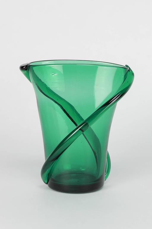 Vibrant Italian Murano Vase Vetro Verde Di Empoli 1960 At 1stdibs