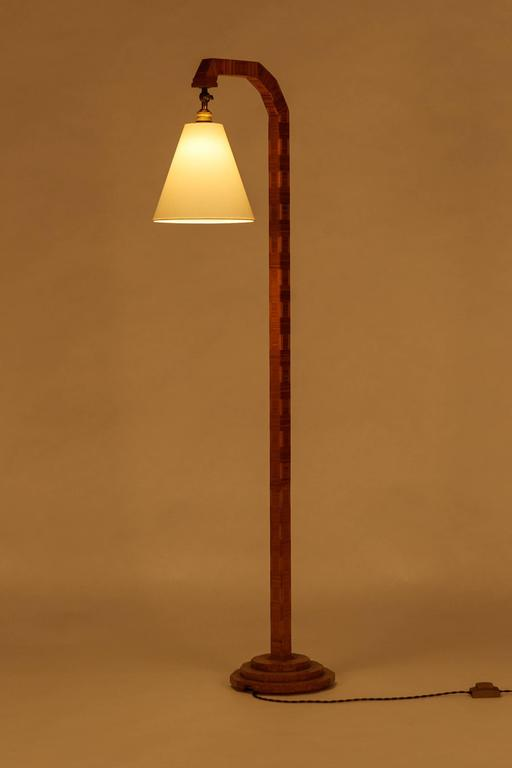 Art Deco Floor Lamp Cherry Wood Blocks 1930 At 1stdibs