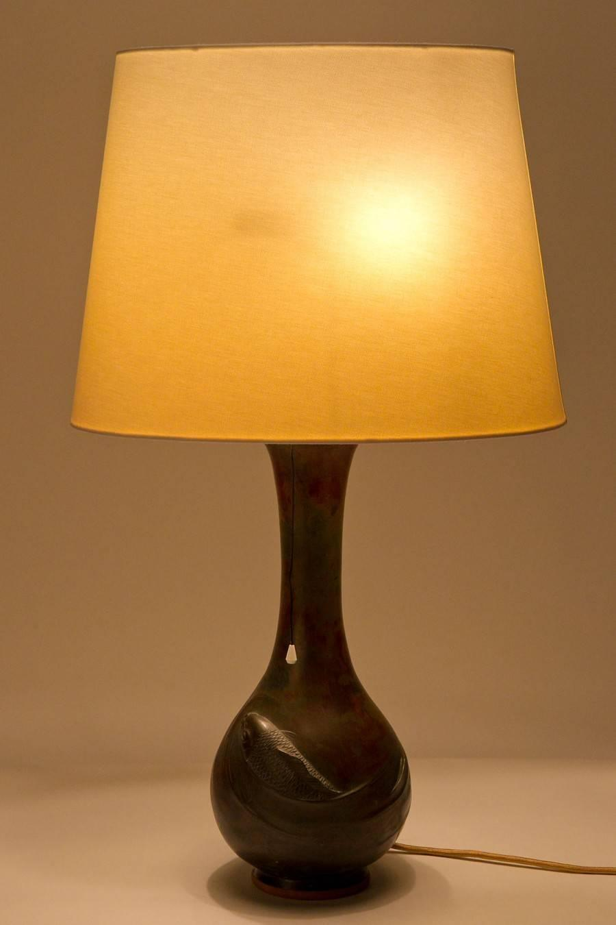 Exceptional Japanese Bronze Table Lamp 1920 At 1stdibs