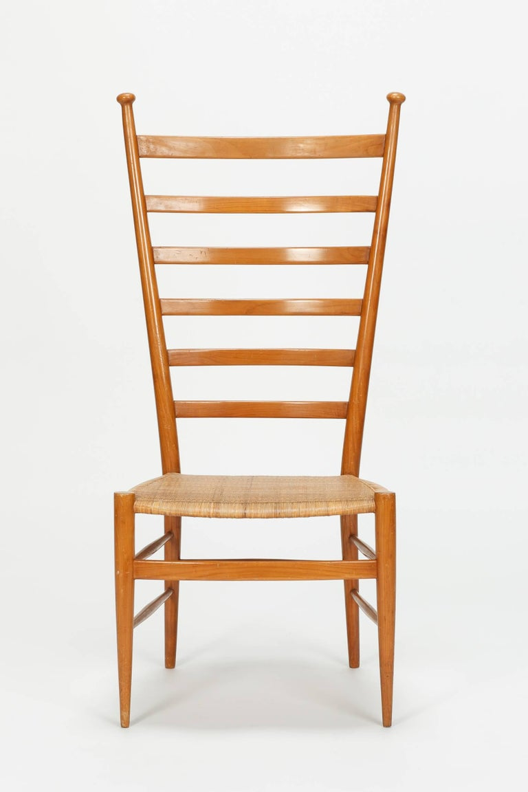 Sanguineti chair made by Chiavari in the 1950s. Pearwood frame with cane seat.