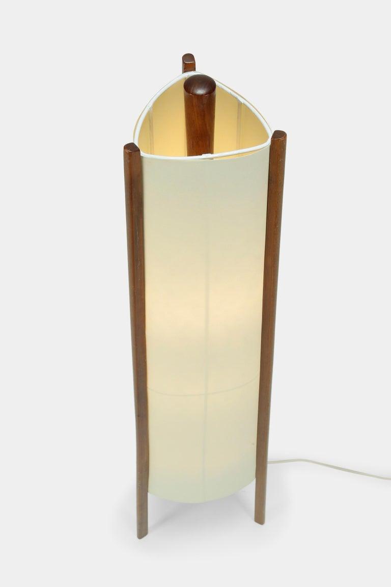 Mid-Century Modern Swiss Floor Lamp Walnut, 1950s For Sale